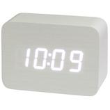 クレファー 木目調LEDデジタルクロック S IAC-5656-WT ホワイト│時計 目覚まし時計
