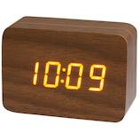 クレファー 木目調LEDデジタルクロック S IAC-5656-BR ブラウン│時計 目覚まし時計