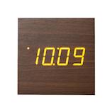 クレファー 木目調掛け置きLEDクロック IAC−5663−BR│時計 目覚まし時計