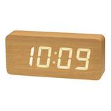 クレファー 木目大型LED IAC−5664 ナチュラル│時計 目覚まし時計