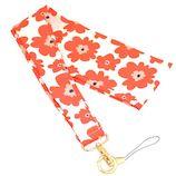 ラスタバナナ スカーフ風ネックストラップ スマートフォン/携帯電話用 花柄 RNST01 レッド