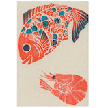 アクティブコーポレーション 梅屋レトロ印刷ポストカード エビ鯛 PR-119