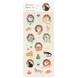 【クリスマス】 アクティブコーポレーション クリスマスペーパーシール 猫とリース CMS−584