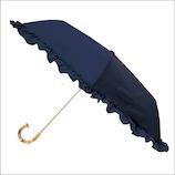 カミオジャパン ピンクトリック 雨晴兼用 完全遮光 3段折りたたみ傘 フリル 87144 ネイビー