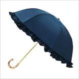 カミオジャパン ピンクトリック 雨晴兼用 完全遮光 2段折りたたみ傘 フリル 87515 ネイビー│レインウェア・雨具 日傘