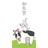 【年賀用品】紙イング ぽち(長)ネコと牛 55050200