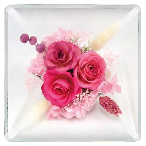 アートプリントジャパン ガラスドーム14角 ピンク│花材 フラワーアレンジメント用品