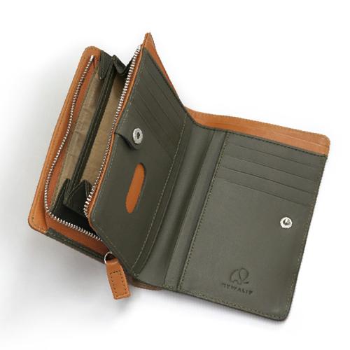 マイウォリット(Mywalit) VBミドルウォレット MY1175152 タン/オリーブ│財布・名刺入れ 二つ折り財布