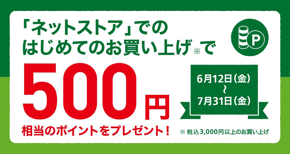 【ネットストアがお得】はじめてのお買い上げで500ポイントプレゼント! ~7/31(金)