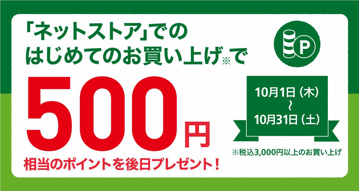 【ネットストアがお得】はじめてのお買い上げで500ポイントプレゼント! ~10/31(土)