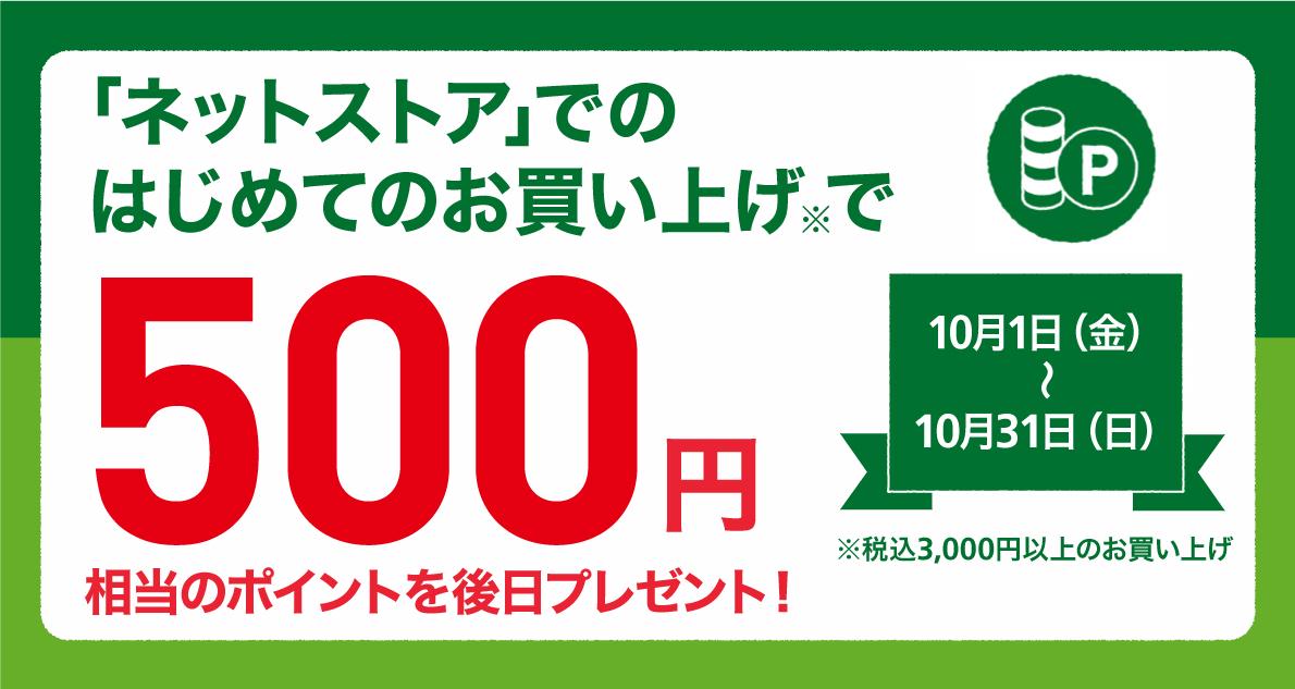 【ネットストアがお得】はじめてのお買い上げで500ポイントプレゼント! ~10/31(日)
