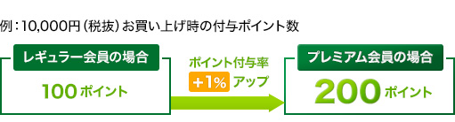 10000円(税抜)のお買い上げ時の付与ポイント数